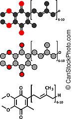 Coenzyme Q10 (ubiquinone, ubidecarenone, CoQ10) molecule,...