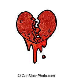 coeur, éclaboussé, sanguine, dessin animé