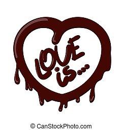 coeur, éclaboussure, amour, réaliste, chocolat