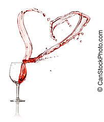 coeur, éclaboussure, vin, rouges, verre