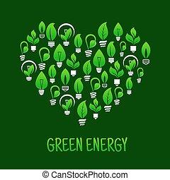 coeur, économie, ampoules, lumière, énergie, symbole