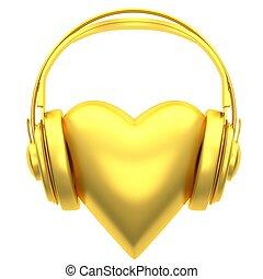 coeur, écouteurs, or