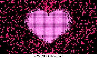 coeur, écran, pixels, numérique