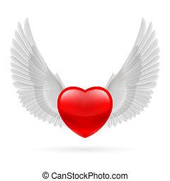 coeur, élevé, ailes