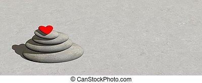 coeur, équilibre, -, render, 3d