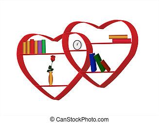 coeur, étagères, formulaire