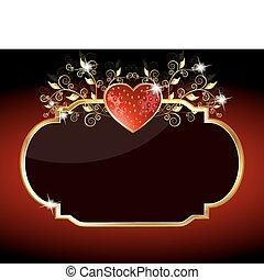 coeur, étincelant, fraise