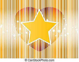 coeur, étoile, raies, or, fond