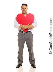 coeur, étreindre, milieu, forme, vieilli, rouges, homme