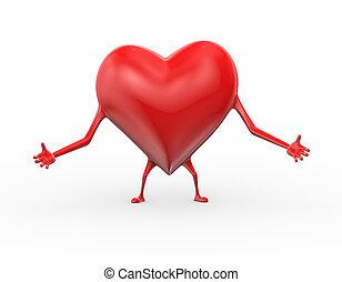 coeur, étreinte, amour, pose, illustration, 3d