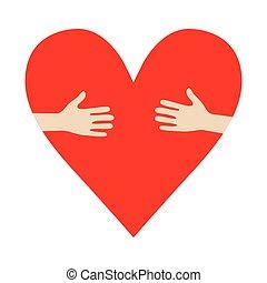 coeur, étreinte, donation, illustration, encourager, vecteur, mains