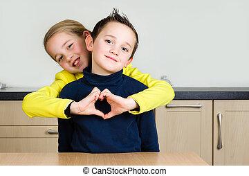 coeur, étreinte, frères soeurs, main, former