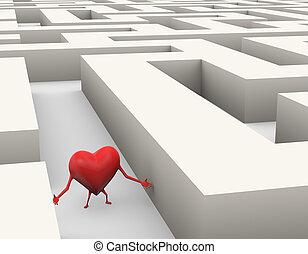 coeur, 3d, illustration, perdu, labyrinthe