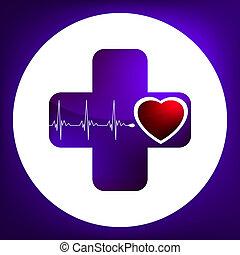 coeur, 8, pulsation, eps, symbole.