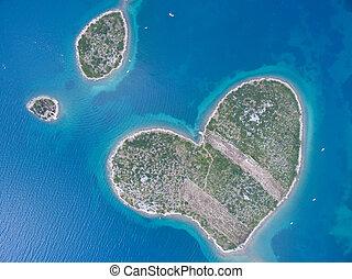 coeur, aérien, Formé, île, Adriatique,  galesnjak, côte, vue