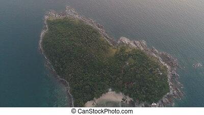 coeur, aérien, formé, île, vidéo, petit, pendant, coucher soleil