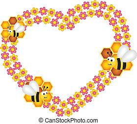 coeur, abeille, miel, sien, fleur
