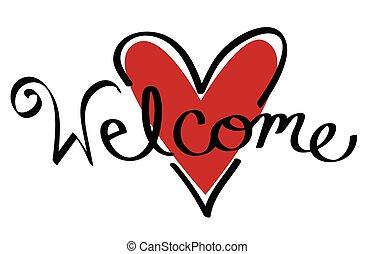 coeur, accueil, rouges