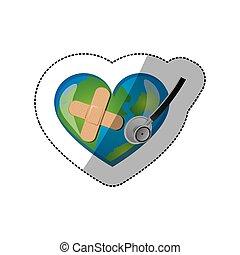 coeur, adhésif, autocollant, planète, forme, stéthoscope, bandage, fond, la terre
