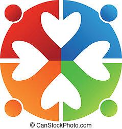 coeur, affaires 4, logo, icône, design.