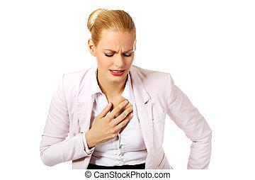coeur, affaires femme, maladie, jeune, avoir
