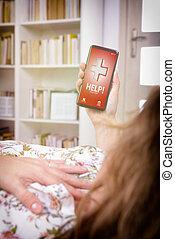 coeur, aide, app, -, appeler, symptômes, téléphone, attaque, intelligent