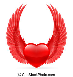 coeur, ailes, haut