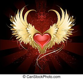 coeur, ailes, rouges, doré