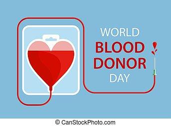 coeur, aimer, day., sac, sanguine, humain, mondiale,...