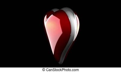 coeur, alpha, boucle, rotate., emmêlé