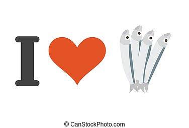 coeur, amants, amour, fish., fruits mer, anchovies., petit, logo