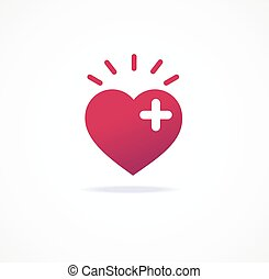 coeur, amour, ajouter, vecteur, icon., ou, signs.