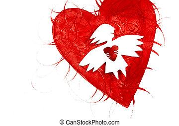 coeur, amour, ange