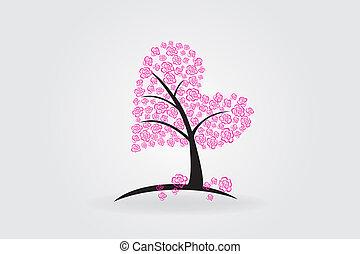 coeur, amour, arbre, roses, vecteur, logo