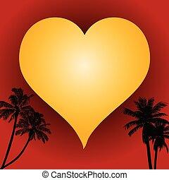 coeur, amour, arbres, paume, fond, rouges