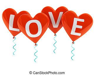coeur, amour, ballons