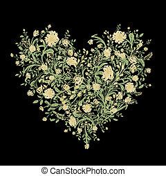 coeur, amour, bouquet, ton, forme, stylique floral