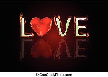 coeur, amour, brûler, texte, valentin, reflected., s, jour