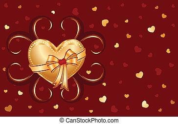 coeur, amour, carte, doré, vous