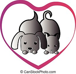 coeur, amour, chien, chat