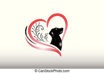 coeur, amour, chien, logo