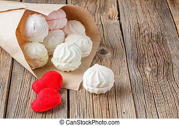 coeur, amour, concept, rustique, bonbons, table, message