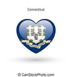 coeur, amour, connecticut, état, symbole., drapeau, icon.