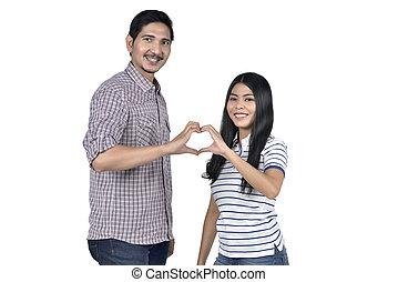 coeur, amour, couple, doigts, leur, forme, asiatique, confection, portrait