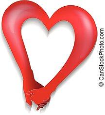 coeur, amour, couple, forme, tenant mains, logo