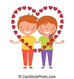 coeur, amour, couple, valentin, jour, heureux
