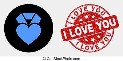 coeur, amour, détresse, récompense, vecteur, cachet, vous, icône