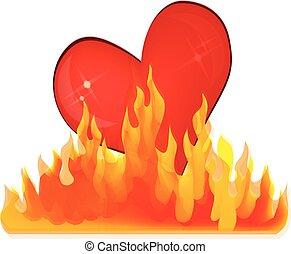 coeur, amour, flammes, logo
