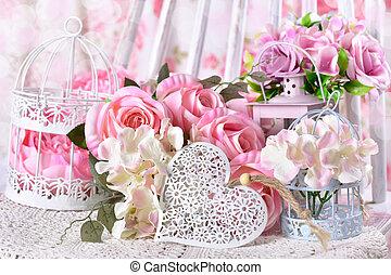 coeur, amour, fleurs, romantique, décoration