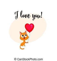 coeur, amour, formé, balloon, chat, tenue, vous, carte